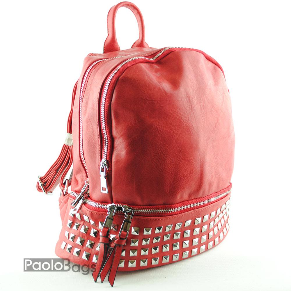 b03c1f50102 Дамска кожена раница със 104 масивни метални пирадимки с масивни метални  ципове и голям преден капак червена