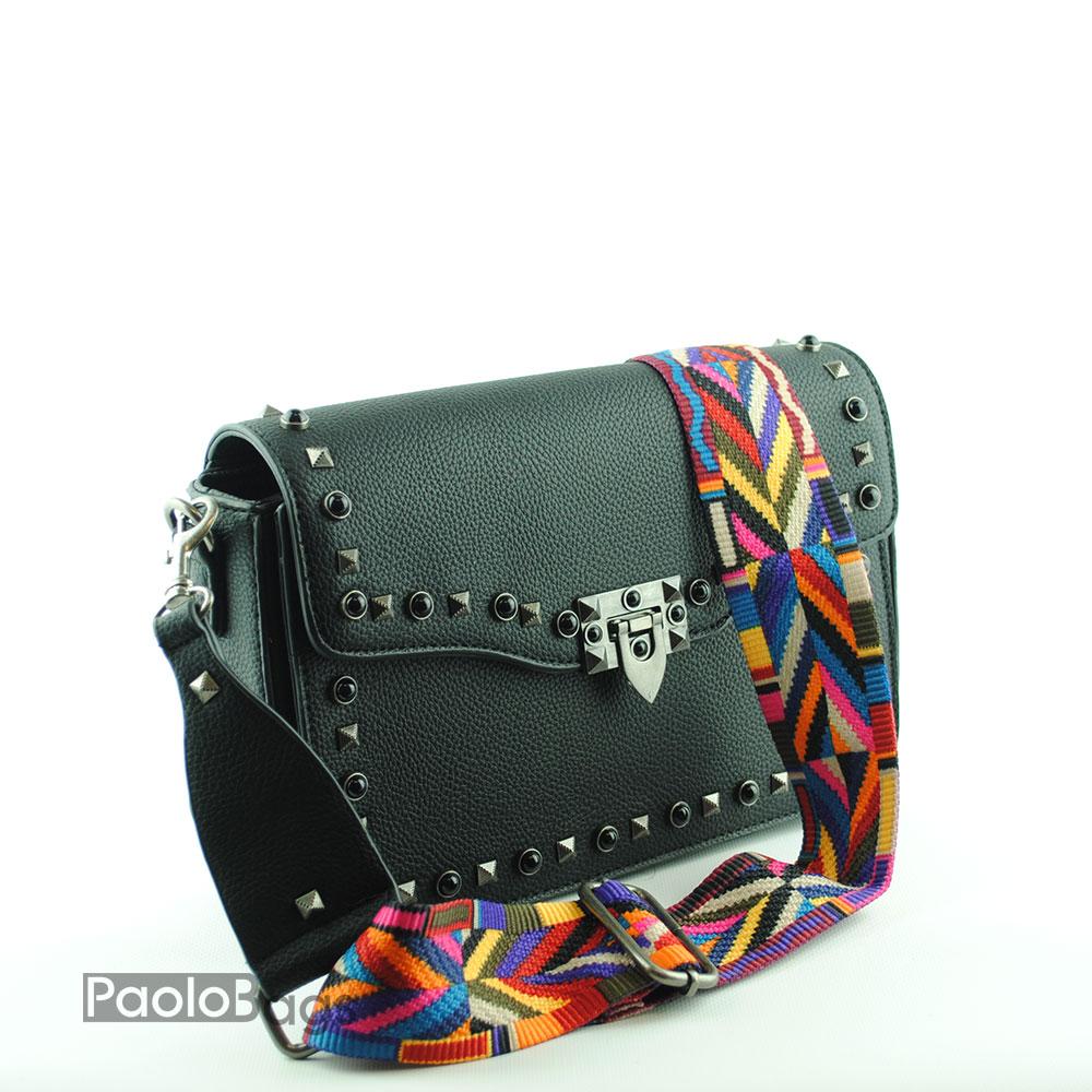 4c7dc04428e ДАМСКИ ЧАНТИ : Дамска чанта за през рамо със свежа дръжка с камъни и ...
