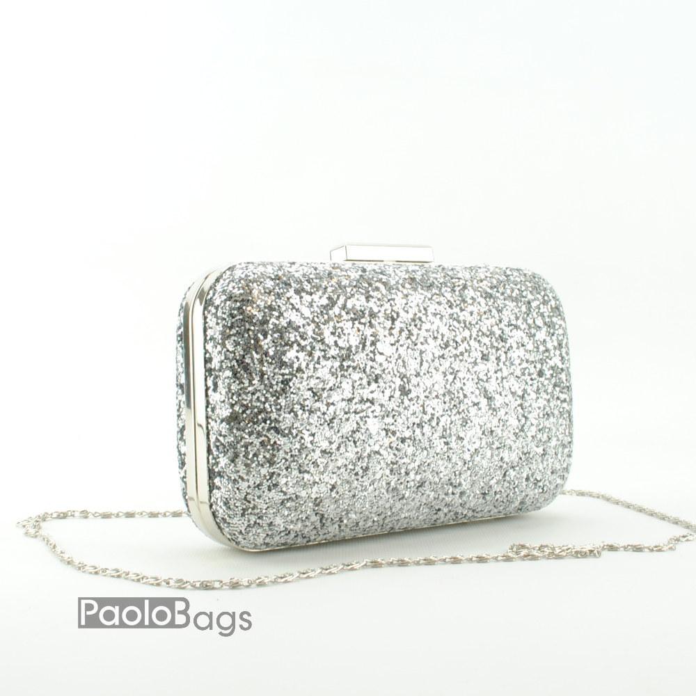 88433cd6220 Дамска чанта тип клъч плик вечерна официална твърда с едър брокат тип камъни  сребърна