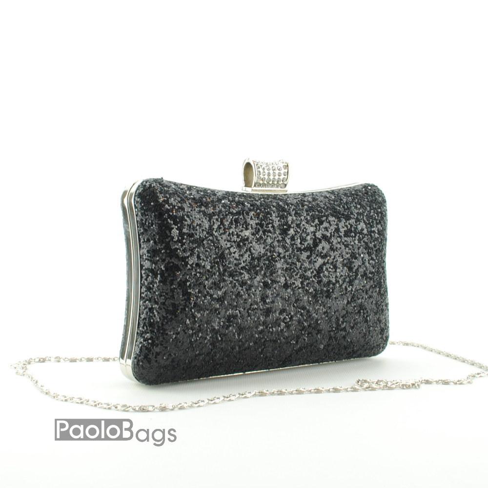 4635ff1936d Дамска чанта тип клъч плик вечерна официална твърда с нестандартен дизайн  едър брокат тип камъни черна