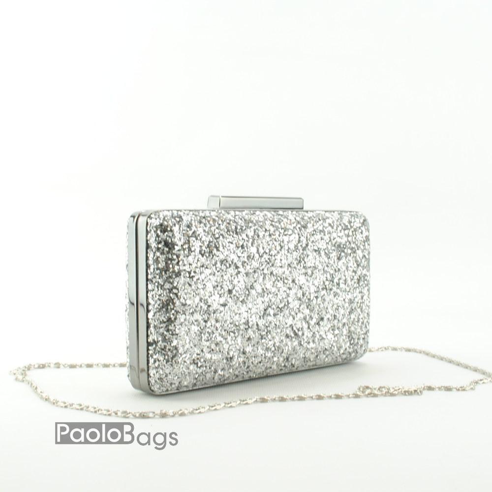 bb082da2ee4 Дамска чанта тип клъч плик вечерна официална твърда правоъгълна едър брокат  тип камъни сребърна