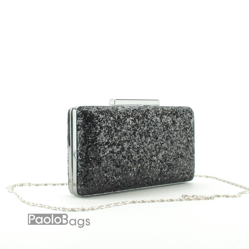 89e57a927a6 Дамска чанта тип клъч плик вечерна официална твърда правоъгълна едър брокат  тип камъни черна