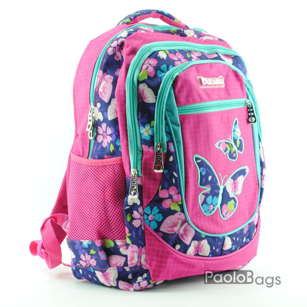 3a3ec8ea4ee Ученическа раница евтина със свежа шарка с пеперуди розов десен с много  джобове