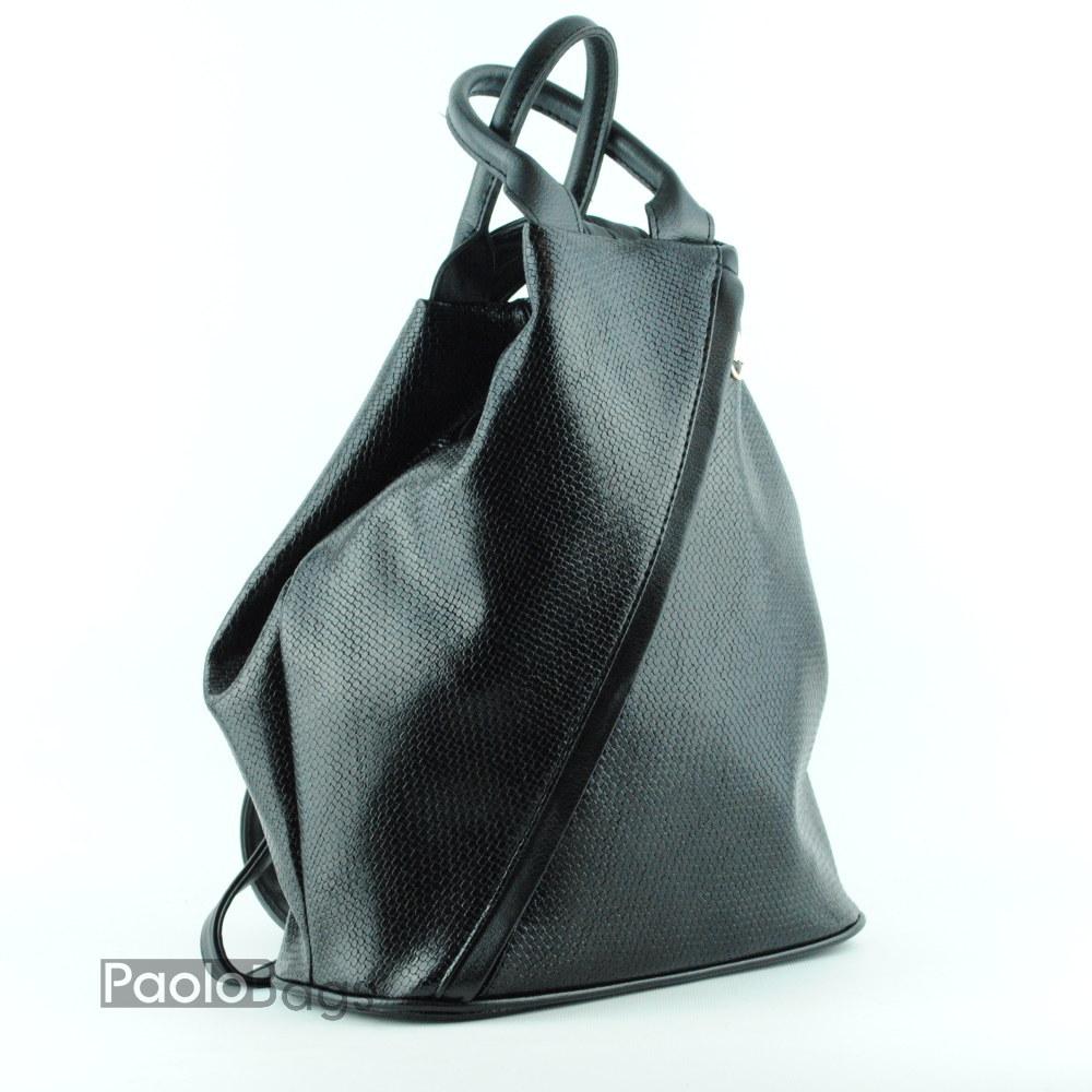 0475912f503 Дамска кожена раница българска с дизайн с възможност за носене като ръчна  чанта черна