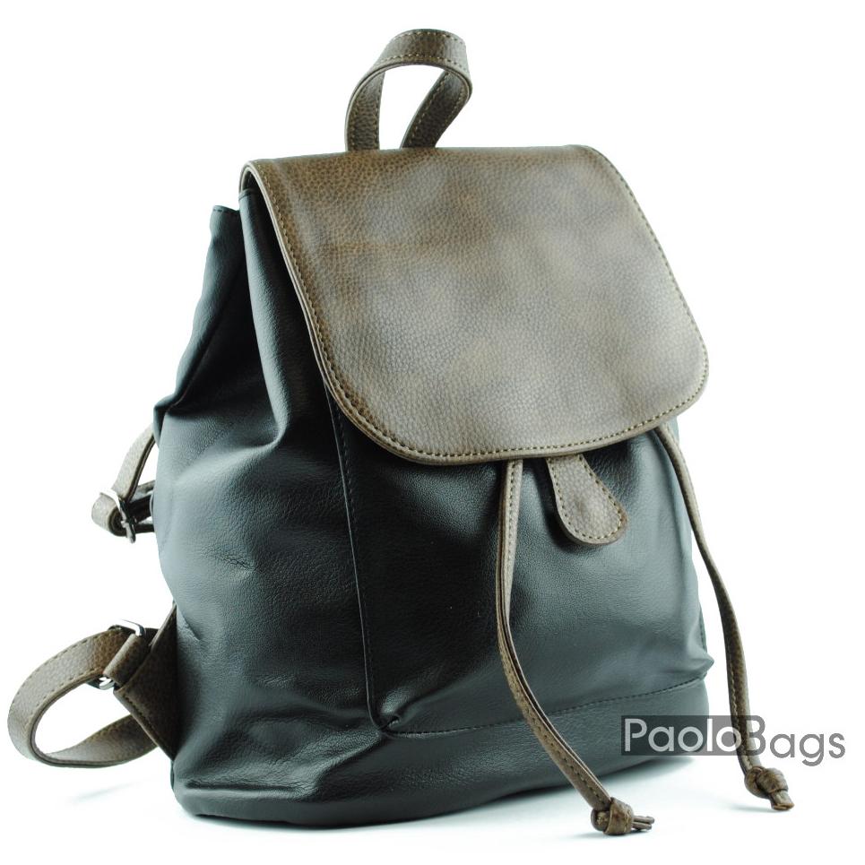 6f8df0d36b8 Дамска кожена раница с преден джоб под капака топ качество комбинация черно  с кафяво