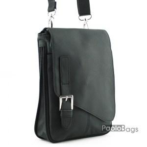 Мъжка чанта от естествена кожа с декоративна катарама с разширителен цип топ модел височина 28см.