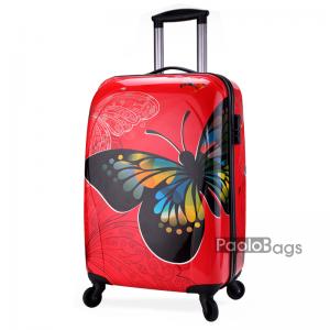 Червен твърд куфар на колелца с пеперуда 18401