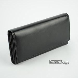 Дамско портмоне от естествена кожа в черен цвят 20620