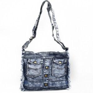 Дънкова дамска чанта за през рамо евтина лека и практична среден размер 0192887