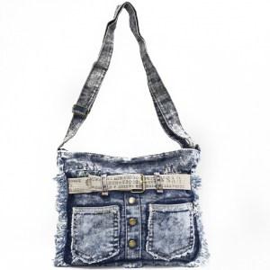 Дънкова дамска чанта за през рамо евтина лека и практична среден размер 0192888