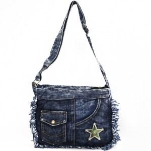 Дънкова дамска чанта за през рамо евтина лека и практична среден размер 0192889