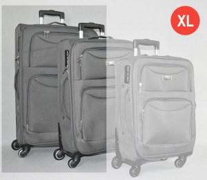 Сив платнен куфар голям