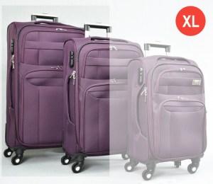 Лилав платнен куфар голям