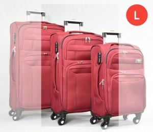 Червен платнен куфар среден