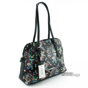 Черна дамска чанта лято с цветя
