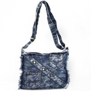 Дънкова дамска чанта за през рамо евтина лека и практична среден размер 092880