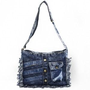 Дънкова дамска чанта за през рамо евтина лека и практична среден размер 092881
