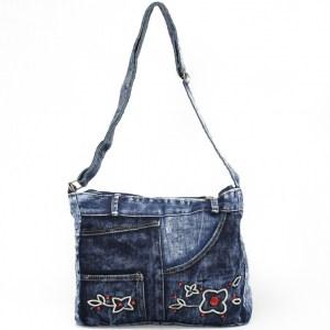 Дънкова дамска чанта за през рамо евтина лека и практична среден размер0192880