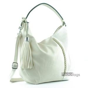 Бежова дамска чанта тип торба