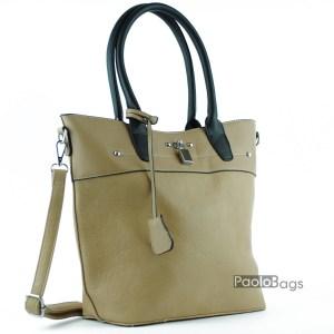 Тъмно бежова дамска чанта