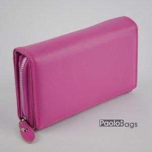 Дамско портмоне от естествена кожа в пастелно розов цвят 20618