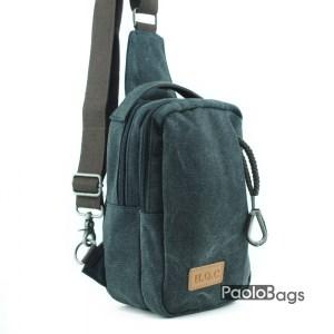 Черна мъжка чанта за през рамо на гръб или гърди тип банан раница с дръжка за носене в ръка