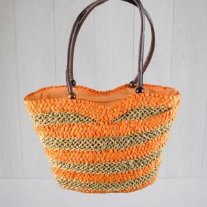Плетена плажна чанта класическа на райета модел Италия