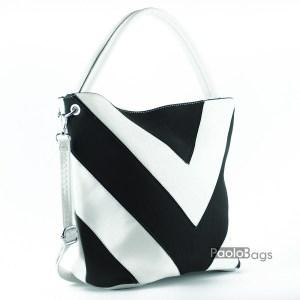 Дамска чанта в бяло и ерно тип торба