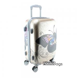 Твърд куфар на колелца с пеперуда златист 18401