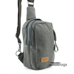 Сива мъжка чанта за през рамо на гръб или гърди тип банан раница с дръжка за носене в ръка