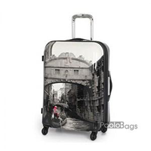 Куфар на колелца с картинка Венеция ABS PVC поликарбон нечуплив свръх устойчив на натоварване размер XL