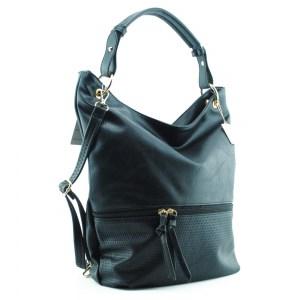 Дамска чанта тип торба черна с преден джоб с цип 18501