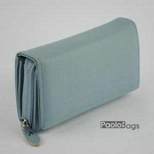 Дамско портмоне от естествена кожа в пастелно син цвят 20616