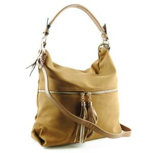 Дамска чанта тип торба класически дизайн с дълга дръжка за носене на рамо кафява