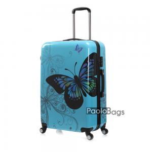 Син твърд куфар на колелца с пеперуда 18401