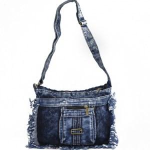 Дънкова дамска чанта за през рамо евтина лека и практична среден размер 0192882