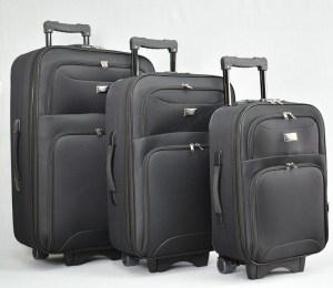 Куфар платнен черен комплект с разширител