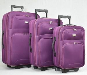 Куфар платнен лилав комплект с разширител