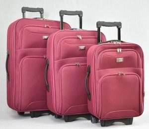 Куфар платнен червен комплект с разширител