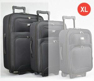 Черен платнен куфар голям с разширител