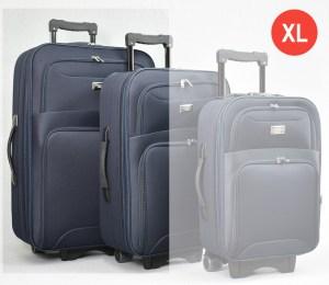 Син платнен куфар голям с разширител