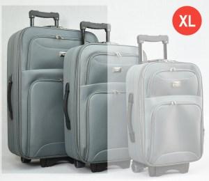 Сив платнен куфар голям с разширител