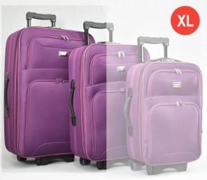 Лилав платнен куфар голям с разширител