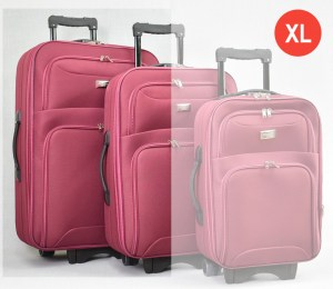 Червен платнен куфар голям с разширител