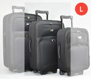 Черен платнен куфар с колелца и разширител