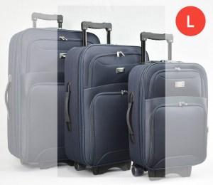 Син платнен куфар с колелца и разширител