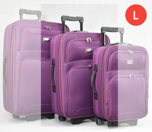 Лилав платнен куфар с колелца и разширител