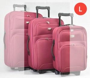 Червен платнен куфар с колелца и разширител