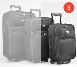 Черен платнен куфар малък с разширител