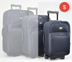 Син платнен куфар малък с разширител